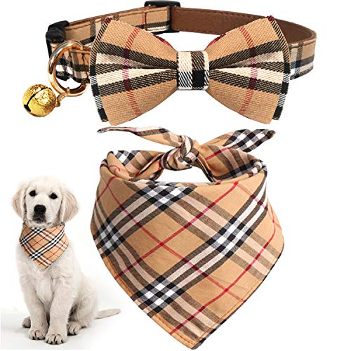 KUDES 2 Pack Cat and Dog Collar Breakaway and Bandana Set with Bell, Adjustable Plaid Bowtie and Scarf Triangle Bibs Kerchief for Small/Medium/Large Dogs (Plaid, M) ()
