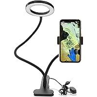 Sunbaca Clip On Led Selfie Ring Light com suporte para telefone celular Regulável Flexível Maquiagem lâmpada de mesa…