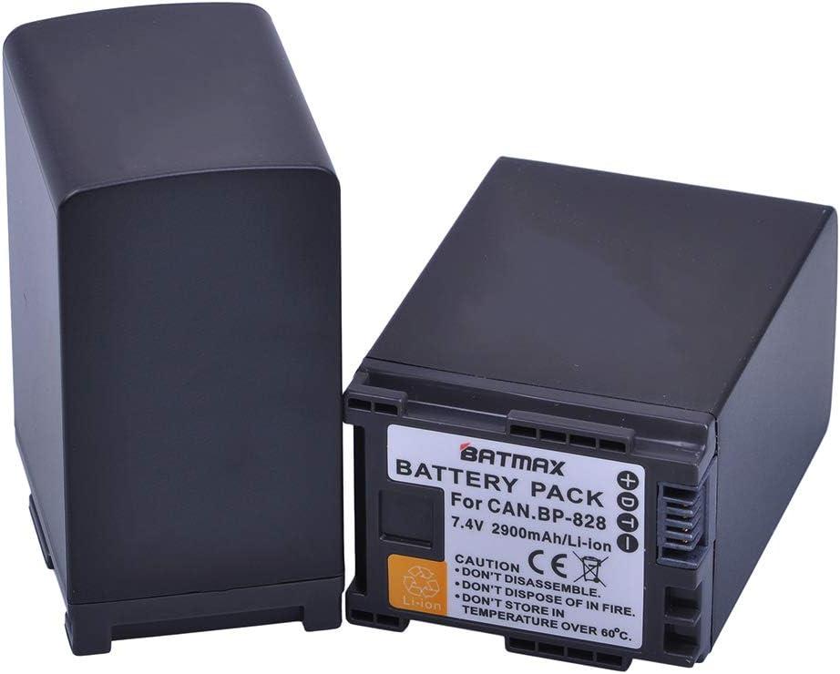 Batmax 2Pcs 2900mAh BP-828 BP 828 BP828 BP-820 Li-ion Battery LCD USB Charger for Canon VIXIA GX10,HF G30,HF G40,XA11,XA15,XA20,XA25,XA30,XA35,XF400,XF405 Camcorders