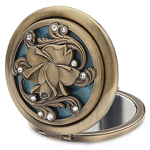 Beauty And The Beast Dual Glass Compact Mirror Antique Golden Finish  Brushed Metal Casing Sculptured Floral Filagree Lid