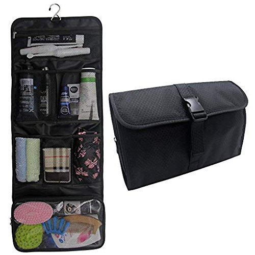 Hanging Toiletry Bag Travel Kit for Men and Women Waterproof Wash Bag Compact Makeup Organizer Bag Shaving Kit for Bathroom, Travel Accessories, Cosmetics, Shampoo, Body Wash (Black)
