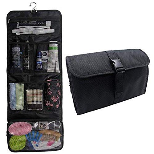 (Hanging Toiletry Bag Travel Kit for Men and Women Waterproof Wash Bag Compact Makeup Organizer Bag Shaving Kit for Bathroom, Travel Accessories, Cosmetics, Shampoo, Body Wash (Black))