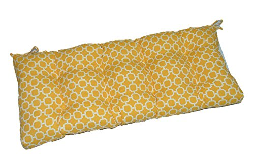 Yellow and White Geometric Hockley Indoor / Outdoor Tufted Cushion with Ties for Bench, Swing, Glider - Choose Size (58