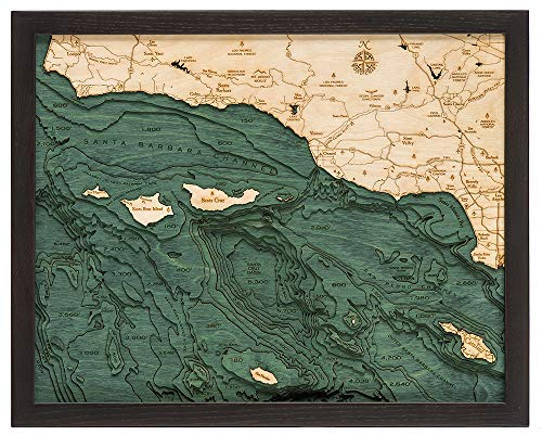 Santa Barbara/Channel Islands 3-D Nautical Wood Chart, 16