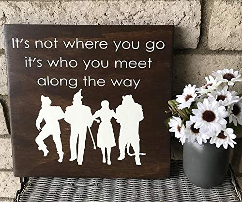 (Burkewrusk Wizard of Oz Movie Inspired Rustic Wood Sign with Character Silhouettes Dorothy Tin Man Lion and Scarecrow Brown and)