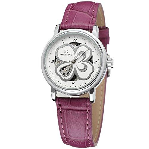 Womens Manual Winding Watch - Forsining Women's Stylish Automatic Self-winding Skeleton Leather Strap Analogue Watch FSL8014M3S5
