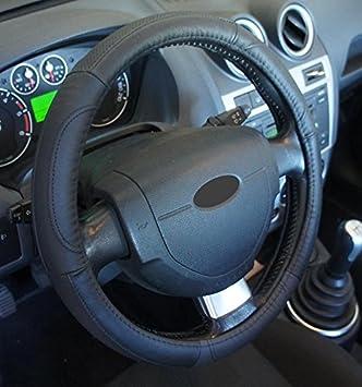 Ricambi Auto Europa - Funda de volante de piel auténtica negra para coche, excelente calidad