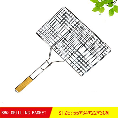 BBQ WINJ Barbecue Basket Folding for Roast BBQ Portable Grilling Basket with Wood Handle for Fish,Vegetables, Steak,Shrimp?Chicken Wings. - Grilled Pepper Steak