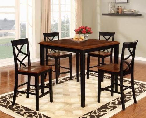 GTU Furniture 5-Piece Wooden Counter Height Kitchen/ Dining Room Table Set. 1 Table and 4 Barstools (BLACK)