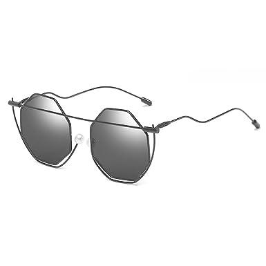 Poligonal Perla Gafas de sol puente para mujer Unisex Retro Vintage Gafas marco doblado color de