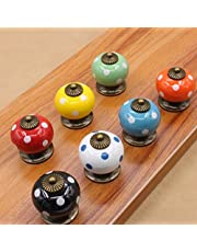 Mooi leven * 7 stuks kastknoppen deurknop meubelknop keramische meubelgreep met schroeven 7 kleurrijke kleur pompoen