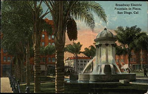 Broadway Electric Fountain in Plaza San Diego, California Original Vintage - Plaza Broadway The