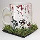 Zombies Rising from the Grave Mug with Grass coaster