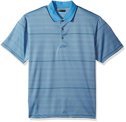 PGA TOUR Men's Short Sleeve Jacquard Polo Shirt, Modern Argyle Azure Blue, M