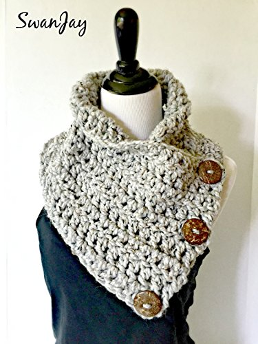 Chunky Button Scarf Crochet Harbor Scarf Three Button Cowl Bulky Gift Handmade