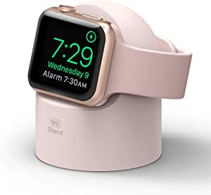elago W2 Stand Compatible with Apple Watch Series 6/SE/5/4/3/2/1, 44mm, 42mm, 40mm, 38mm – Charging Dock Station, Supports Nightstand Mode, Cable Management, Scratch-Free Silicone (Lovely Pink)