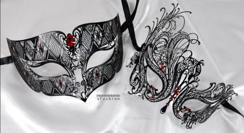 Lovers Collection Men Women Couple Red R5 Combo Cut Venetian Masquerade Mask Event Party Ball Mardi Gars]()