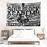 alisos Retro,Bedroom Tapestry Soul Rock Academy Theme Music School Electric Guitar Freedom Poster Like Image 93W x 70L Inch Wall Blanket Art Dorm Beige and Black