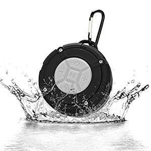 Mini Bluetooth Speakers IPX7 Portable Wireless Waterproof Speaker with Microphone and Suction Cup Dustproof Splashproof for Bathroom, Shower, Boat, Pool, Beach, Kitchen, Car, Outdoor - Tsumbay Gray