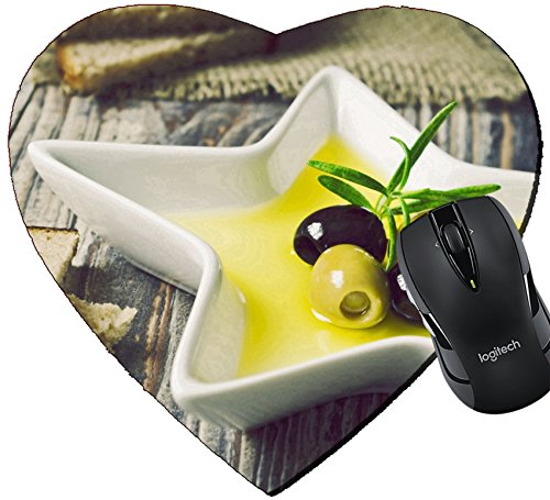 MSD Mousepad Heart Shaped Mouse Pads/Mat design: 30434299 marinated olives in olive oil and bread on the table selective focus toning in retro style ()