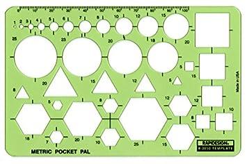 Square Rapidesign Schablone f/ür Schrauben und Muttern Metrische SchabloneSketch Mate Metric Sketch Mate Circle Triangle Hex