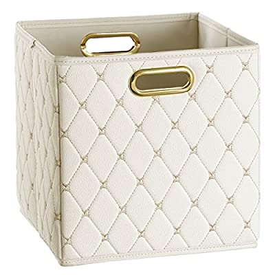 Creative Scents Cube Storage Bin Faux Leather - Decorative Basket with Handles for Shelf, Foldable Storage Cube Organizer Bin for Closet Clothes Blanket Magazines Bedroom Nursery Under Bed(Off-White) - STORE WITH STYLE: Organize your space the stylish way with this quilted PVC leather storage box. QUALITY YOU'LL LOVE: Sturdy design meets metal handles to create a leather storage bin that lasts. MOLD-RESISTANT: Moisture-proof interior of the faux leather storage box keeps mold growth at bay. - living-room-decor, living-room, baskets-storage - 51Ln9nTaf0L. SS400  -