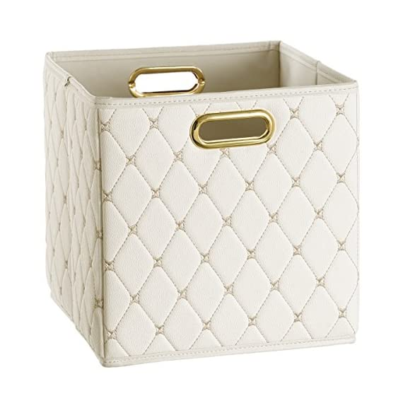 Creative Scents Cube Storage Bin Faux Leather - Decorative Basket with Handles for Shelf, Foldable Storage Cube Organizer Bin for Closet Clothes Blanket Magazines Bedroom Nursery Under Bed(Off-White) - STORE WITH STYLE: Organize your space the stylish way with this quilted PVC leather storage box. QUALITY YOU'LL LOVE: Sturdy design meets metal handles to create a leather storage bin that lasts. MOLD-RESISTANT: Moisture-proof interior of the faux leather storage box keeps mold growth at bay. - living-room-decor, living-room, baskets-storage - 51Ln9nTaf0L. SS570  -