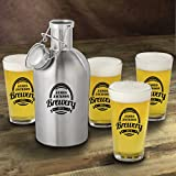 Personalized Stainless Steel Beer Growler with Pint Glass Set - Brewery