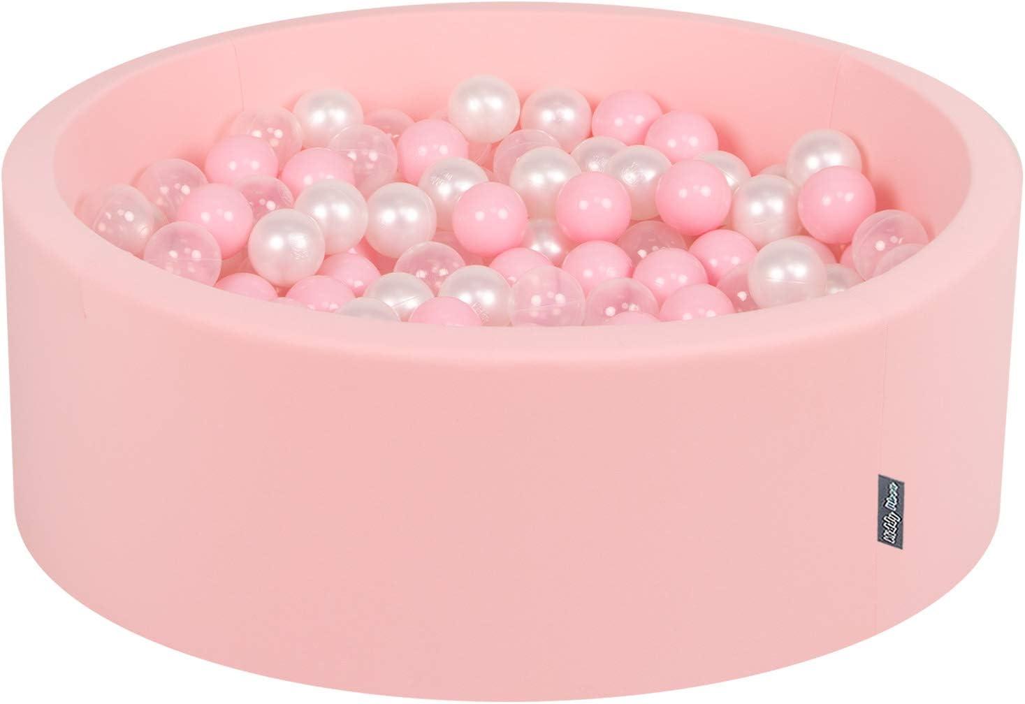 KiddyMoon 90X30cm/200 Bolas ∅ 7Cm Piscina De Bolas para Ninos Hecha En La UE, Rosa:Rosa Clr,Perla,Transparente