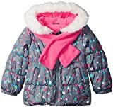 London Fog Toddler Girls' Winter Coat with Hat and Scarf, Gray Galaxy Heart/Stars, 4T