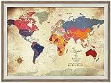 Framed Vintage Inspired Map, 20X30 Inches, Keepsake gift, Pin Map, Gift for grandparent, Custom map