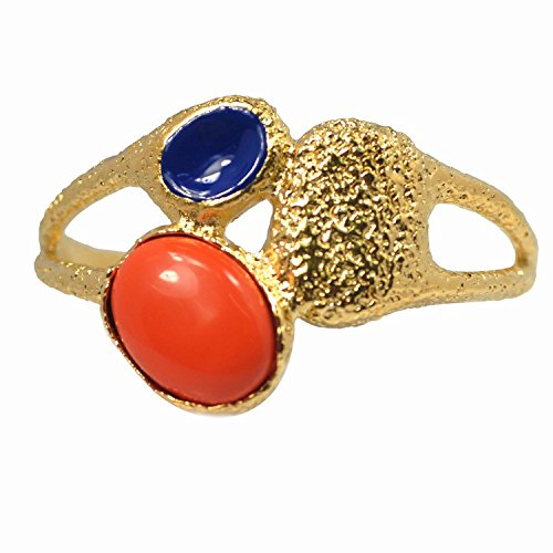De Buman 14k Gold Overlay Red Coral, Lapis or Turquoise Enamel Cuff Bracelet (Red Coral)