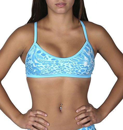 (Adoretex Girl/Women's Leopard Crossback Workout Bikini Top-FN033A-Teal/Blue-L)