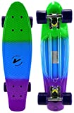 Velocity Boards Retro Cruiser Complete 22' Banana Skateboard w/ Aluminum Trucks, Fast ABEC-7 Bearings, High Quality Wheels & Bushings (Marble - Green/Blue/Purple)