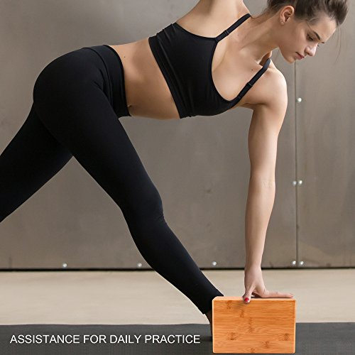 ULTRAFY Yoga Blocks Bricks, Non toxic, Odorless, Water Resistant, Support Bricks with Exercise Strap for Better Positions Stretching Yogi Accessories