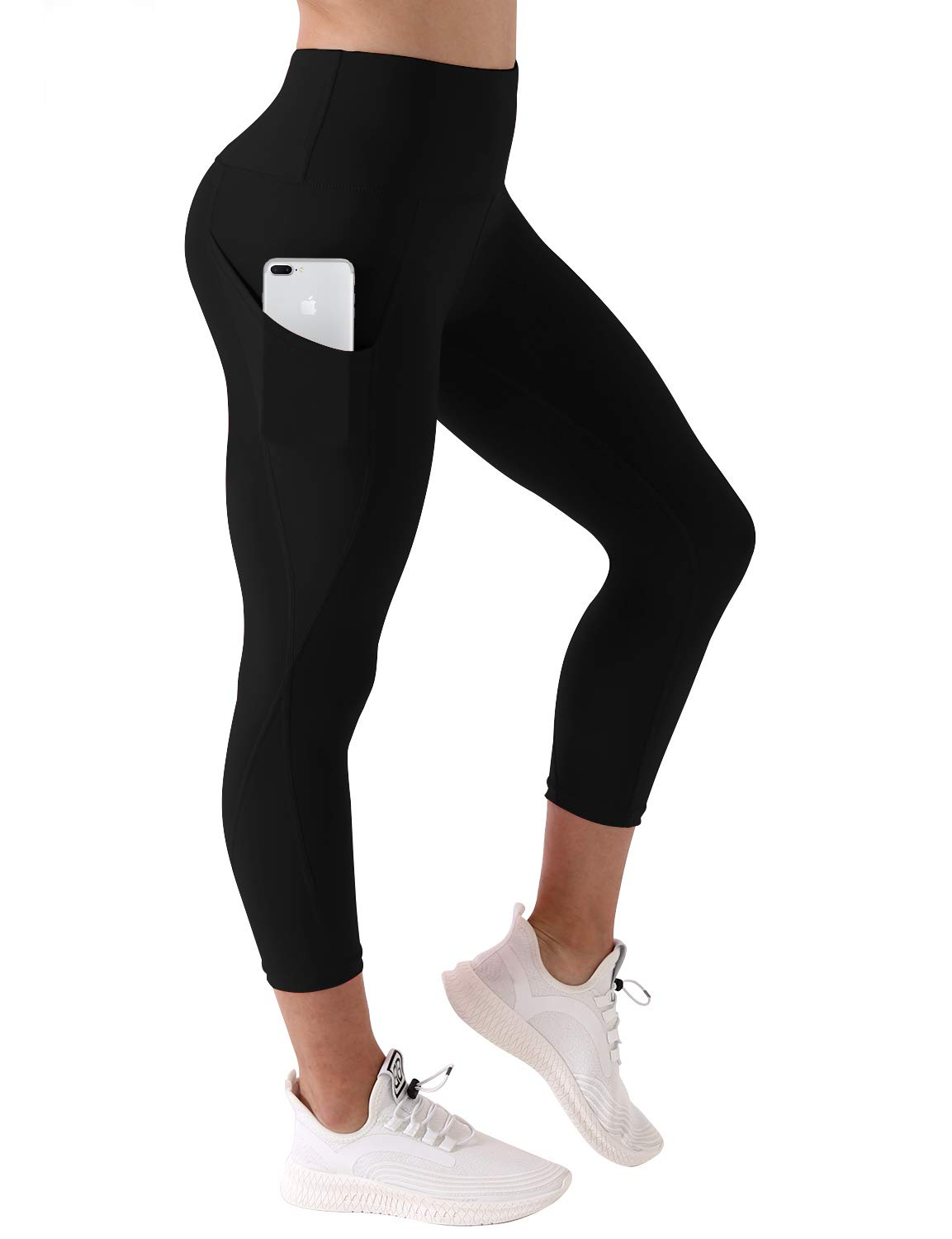 BUBBLELIME High Compression Yoga Pants Out Pocket Running Pants High Waist UPF30+, Bwsb010 Black(1), Small(22'' inseam)