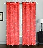 Orange Sheer Voile Window Curtain Panel, Rod Pocket, Printed Silver Lattice, Ava, 55X84