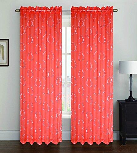 Orange Sheer Voile Window Curtain Panel, Rod Pocket, Printed Silver Lattice, Ava, 55X84 by Window Treatment