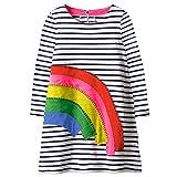VIKITA Toddler Girl Rainbow Loose Cotton Long Sleeve Dress Baby Girls Winter Casual Dresses 1-8 Years (6T, JM7685)