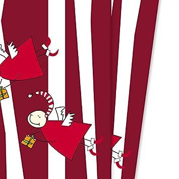 4 hojas rayas navidad papel de regalo con divertidas ángeles, Rojo ...