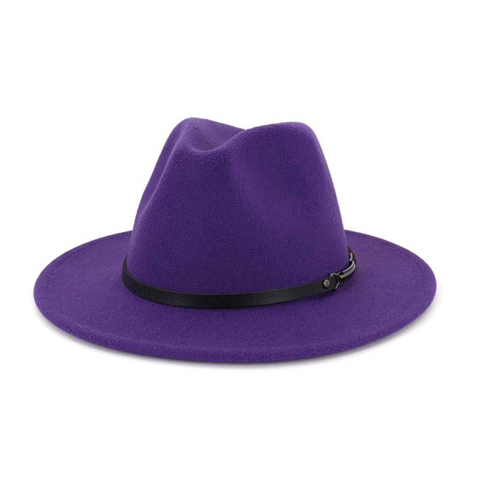 Women Mens Belt Buckle Fedora Hat Wide Brim Panama Hats