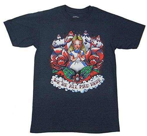 Alice In Wonderland Tattoo Artwork T-shirt (XXL , Navy) (Alice In Wonderland Shop)
