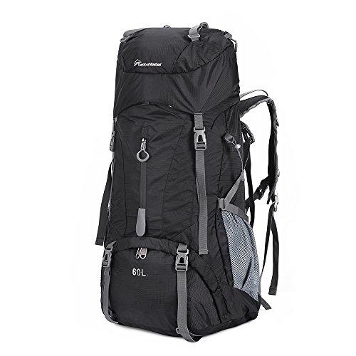 OutdoorMaster Hiking Backpack 60L - Internal Frame Weekend/Multiday Pack w/ Waterproof Rain Cover - for Hiking, Travel, Camping (Black)
