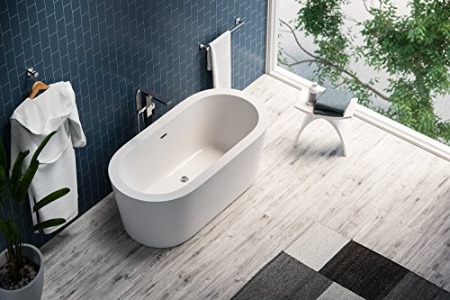 MAYKKE Harrow 67'' Modern Oval Acrylic Bathtub | Rimmed Freestanding White Tub for Bathroom, Shower Storage | cUPC certified, Drain & Overflow Assembly Included | XDA1410002 by Maykke