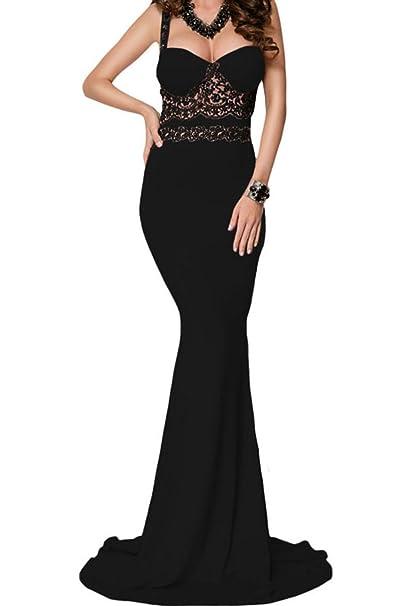 Bling-Bling detalle de encaje negro largo vestido maxi fiesta Prom