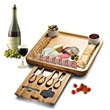 meat cheese tray - Bamboo Cheese Board With Cutlery Server Set Meat Wood Charcuterie Serving Platter Tray With 2 Ceramic Bowls & 3 Slate Labels & 2 Chalk Markers.With Hidden Drawer Comes with 4 Stainless Steel Knives