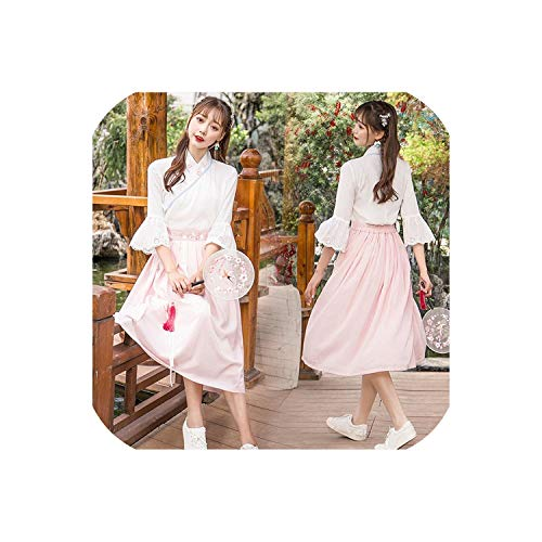 Price comparison product image Ancient Chinese Hanfu Clothes Women Chinese Folk Dance Costume Lady Hanfu Clothing, 81050 Pink, M