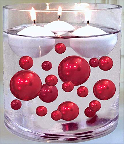 No Hole Red Pearls - Jumbo/Assorted Sizes Vase Decorations - to Float The Pearls Order The Floating Packs from The Options Below