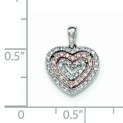 Or bicolore 14Ct Diamant Pendentif Coeur Poli