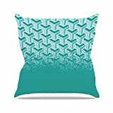 Kess InHouse Just L No Yard Teal White Urban Outdoor Throw Pillow, 16'' x 16''